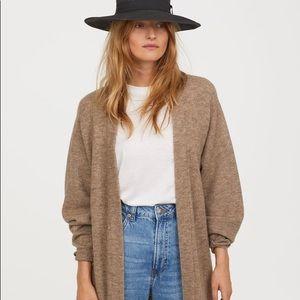 Long grey wool blend cardigan sweater, size S